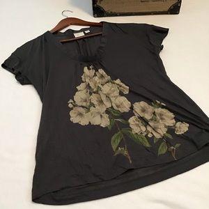Anthropologie Postmark Dark Grey Floral Blouse
